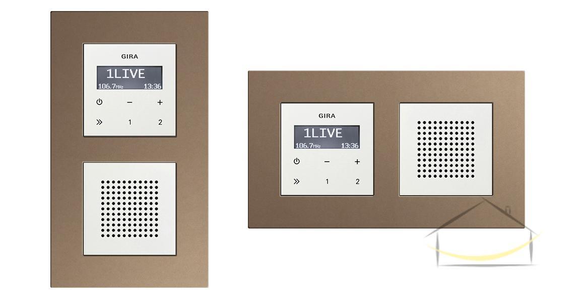 f015477e5fd4d2 Gira Esprit Linoleum - sklejka kolor jasnobrązowy - Radio podtynkowe -  Głośnik biały połysk -