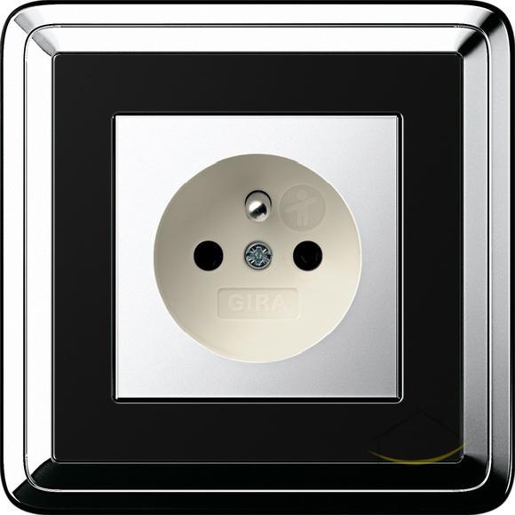 gira classix chrom czarny gniazdo chrom kremowy gniazdko wtykowe z bolcem ochronnym. Black Bedroom Furniture Sets. Home Design Ideas
