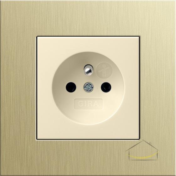 gira esprit aluminium jasnoz ote kremowy po ysk gniazdo z uziemieniem gniazdko wtykowe z. Black Bedroom Furniture Sets. Home Design Ideas