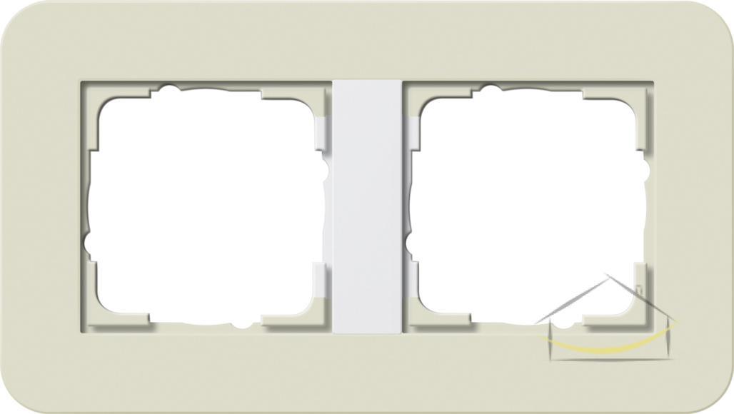 317d99836a8a3b Ramka podwójna Gira E3 typu Soft Touch kolor piaskowy z podstawą biały  połysk nr. kat. 0212417