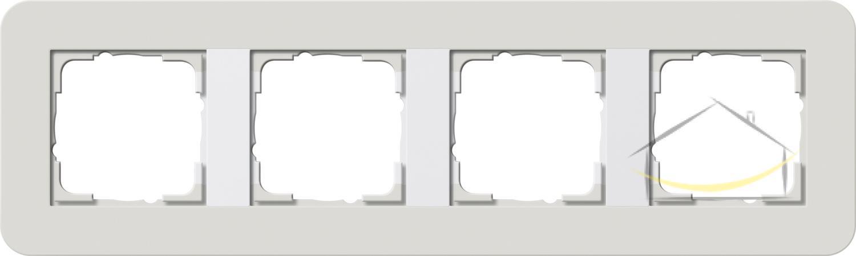 a80e09bd5e657d Ramka poczwórna Gira E3 typu Soft Touch kolor jasnoszary z podstawą biały  połysk nr. kat. 0214411