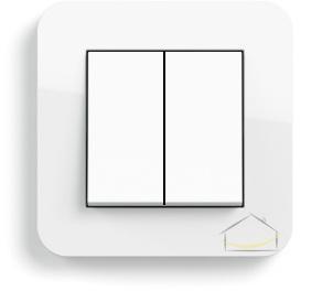 9306f38a71a1a7 Gira E3 biały z połyskiem z podstawą biały połysk i klawiszami biały połysk  - Wyłącznik podwójny - świecznikowy / łącznik przyciskowy z dwoma klawiszami