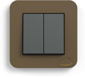 8336c6c5a54863 Gira E3 umbra z podstawą antracytową i klawiszami antracytowymi - Wyłącznik  podwójny - świecznikowy / łącznik przyciskowy z dwoma klawiszami